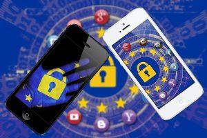 icônes de protection de données sur smartphone
